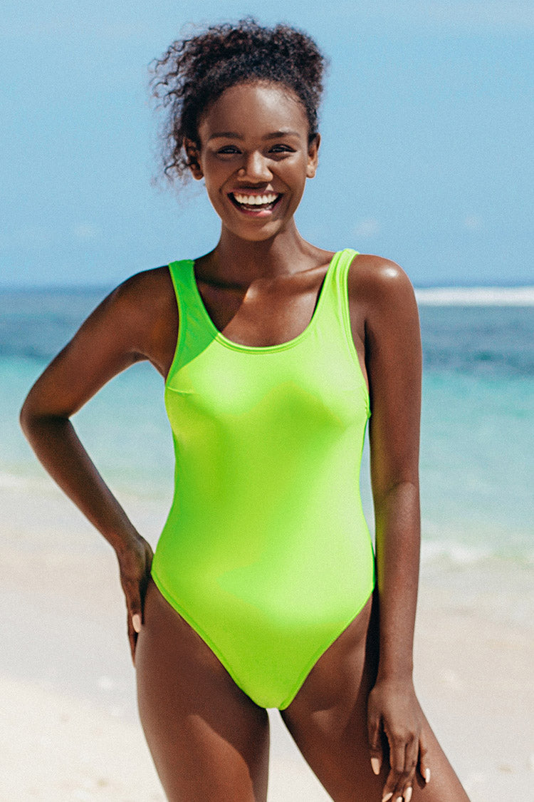 Leopard and Neon Trimmed Reversible One-Piece Swimsuit