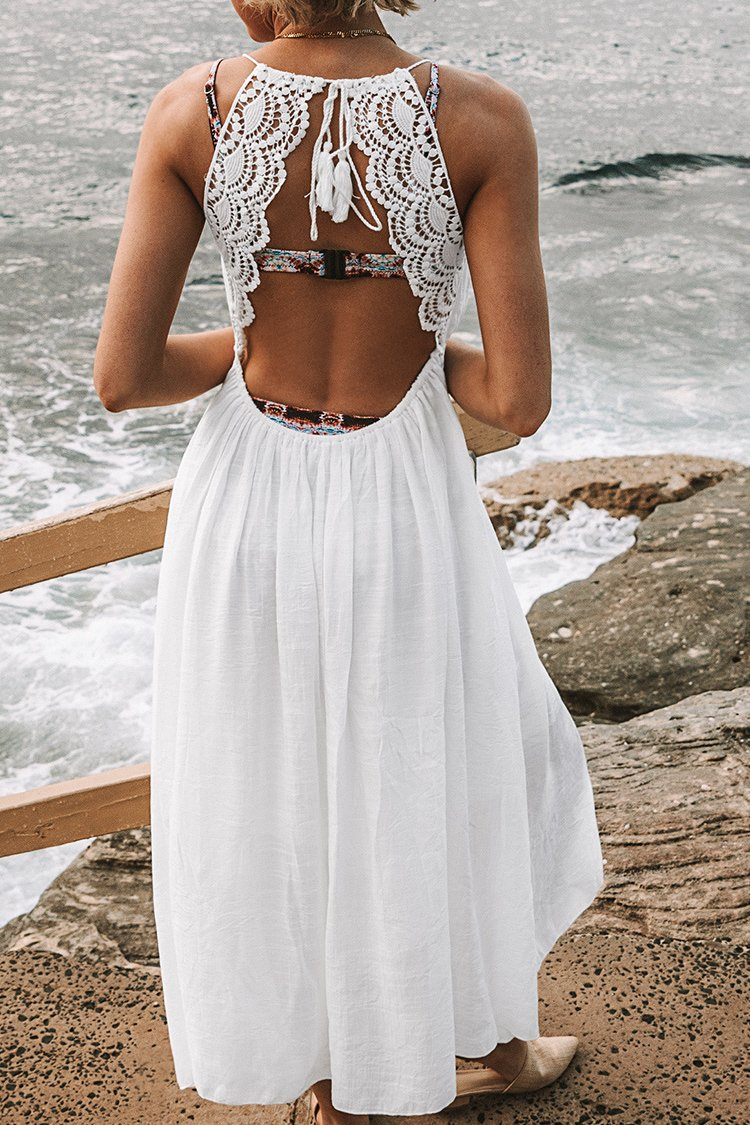 White Backless Midi Dress with Lace