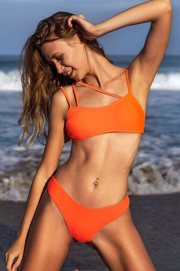 Neon Orange Strappy Bikini