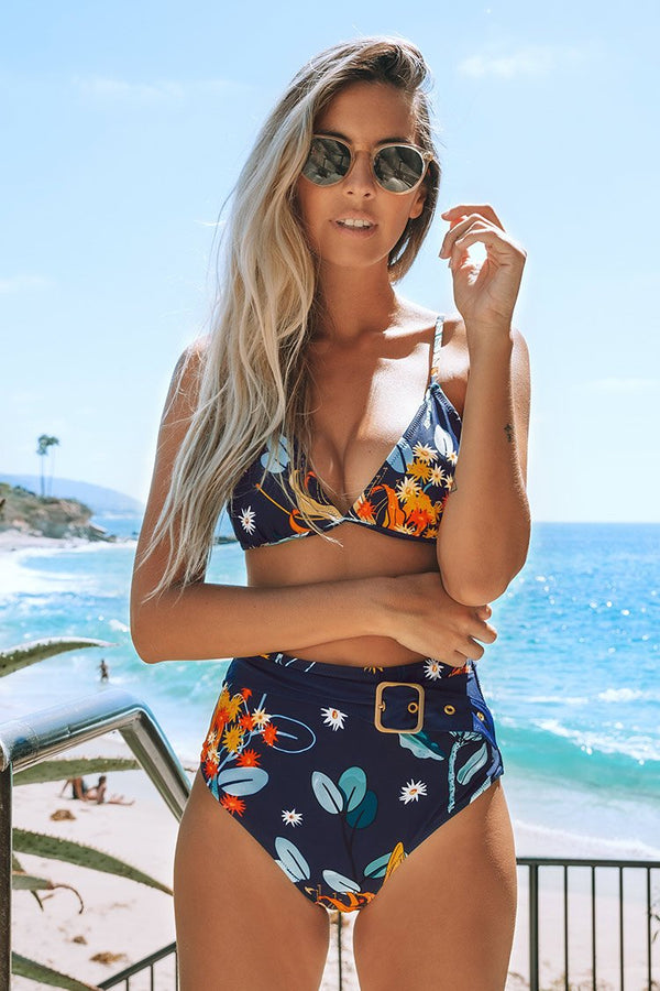 Navy and Orange Abstract Floral Print Bikini