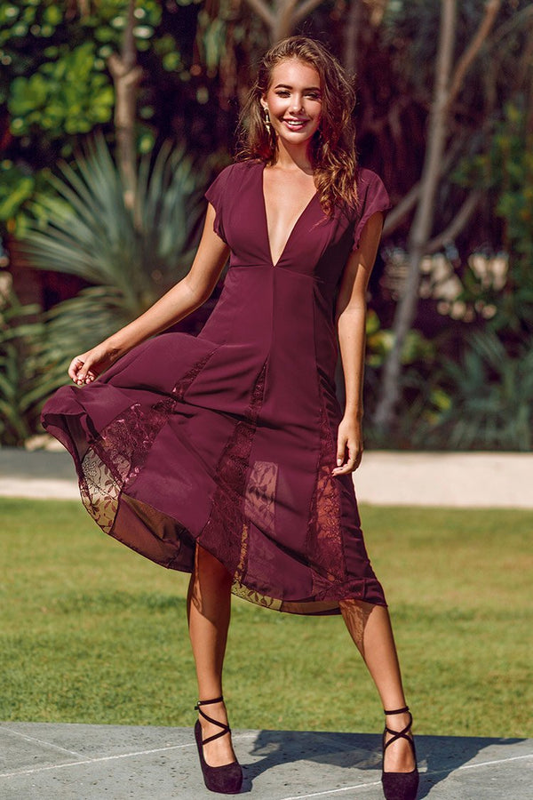 Wine V-Neck Evenning Dress