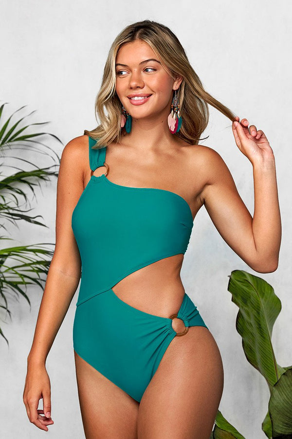 Teal One-Shoulder Cut Out One-Piece Swimsuit
