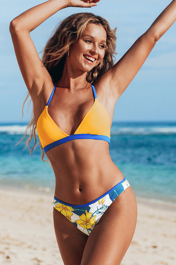 Yellow and Floral Contrast Trim Bikini