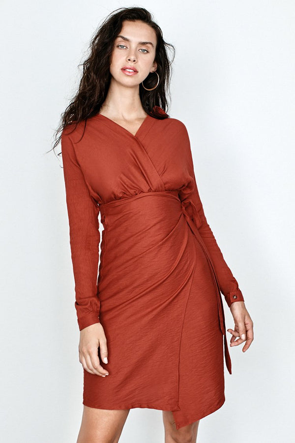 Orange Wrap V-Neck Midi Dress