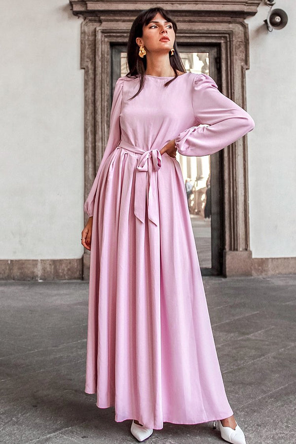 Pink Long Sleeve Maxi Dress