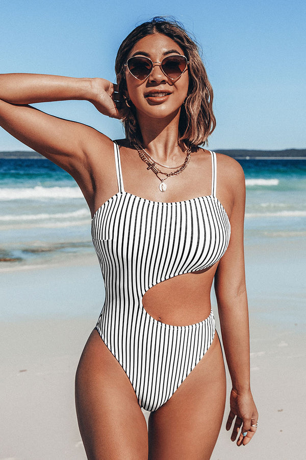 Black And White Cutout Striped One-Piece Swimsuit