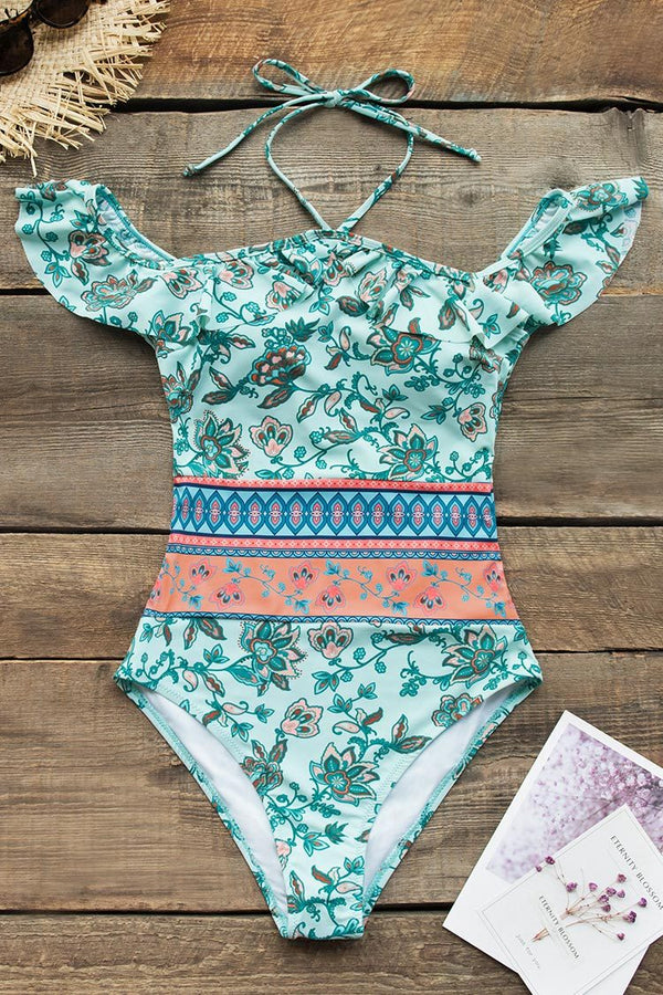 Green Floral Print Off-The-Shoulder One-Piece Swimsuit