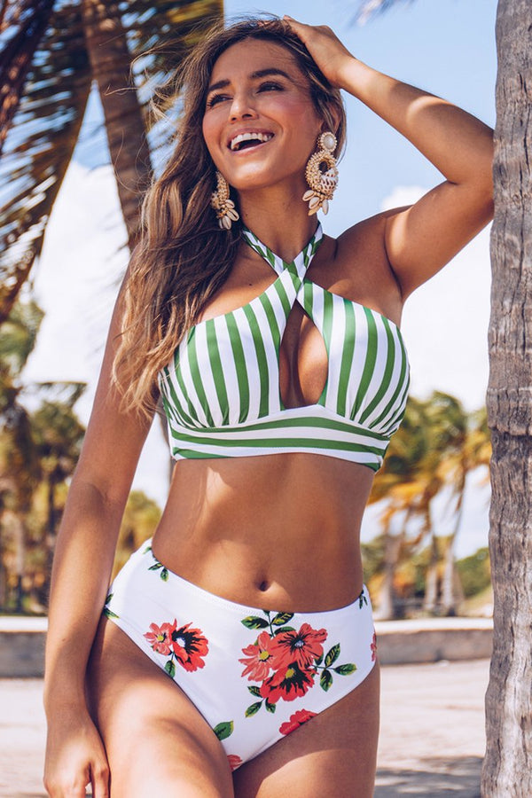 Stripe and Floral Cross Wrap Bikini