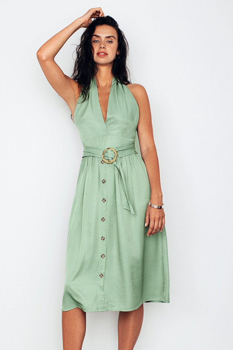 Light Green Halter Backless Dress