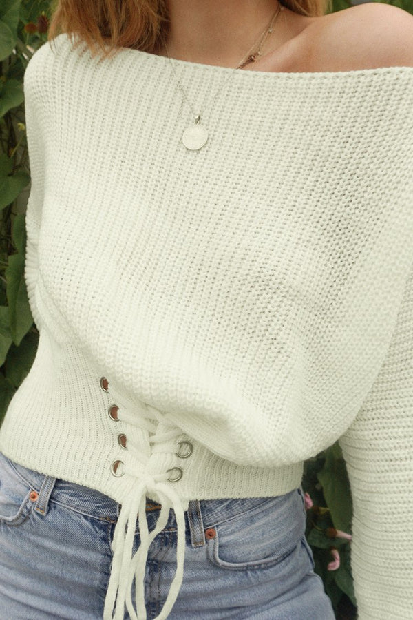 White Lace-Up Off-the-Shoulder Sweater
