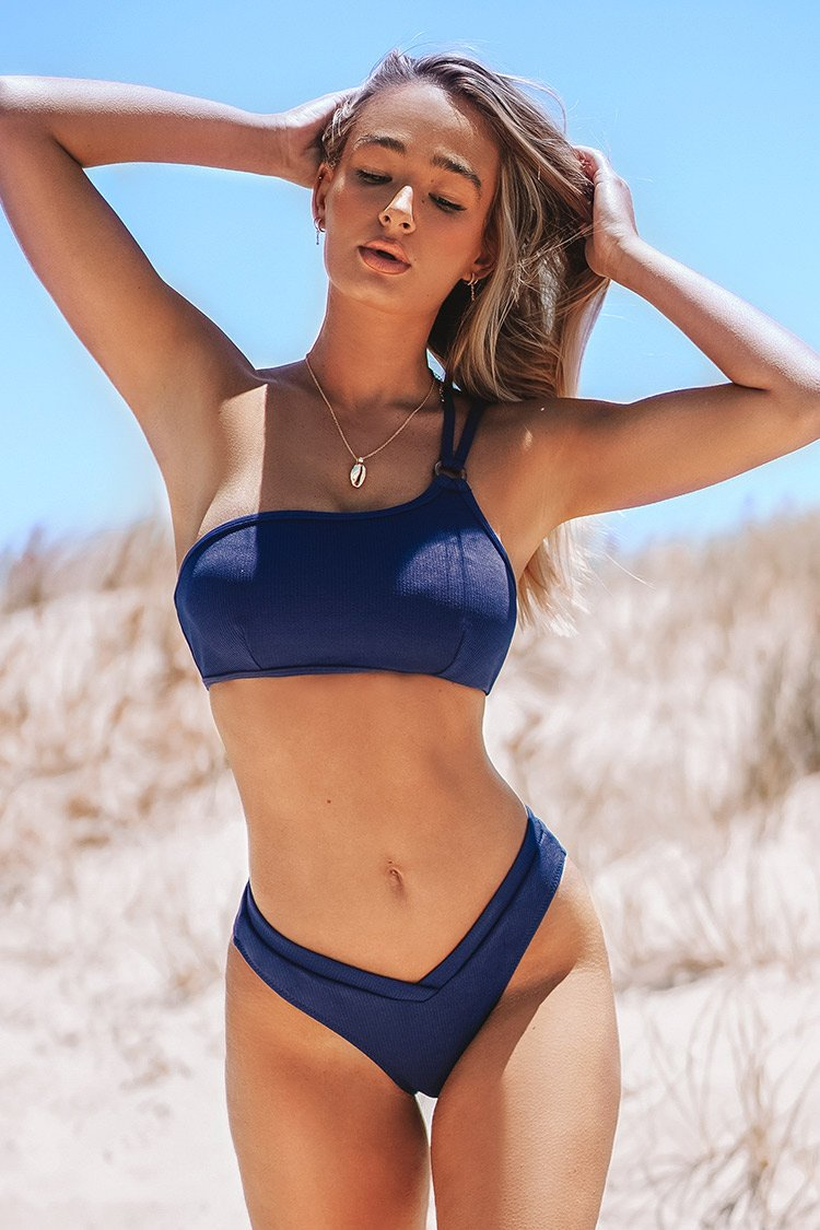 Dark Blue One Shoulder Bikini