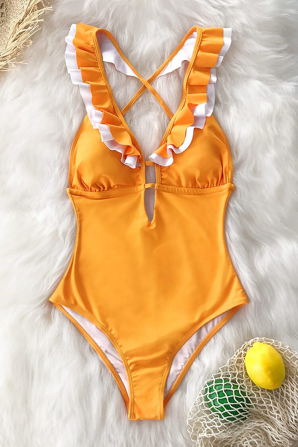 Yellow Ruffled Back Criss-Cross One-Piece Swimsuit