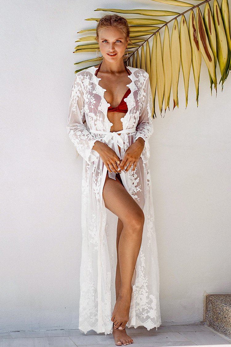 White Floral Long Sleeve Maxi Cover Up