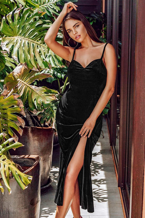 Black Velvet Side Slit Dress