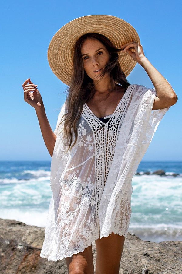 White Lace Crochet Cover Up