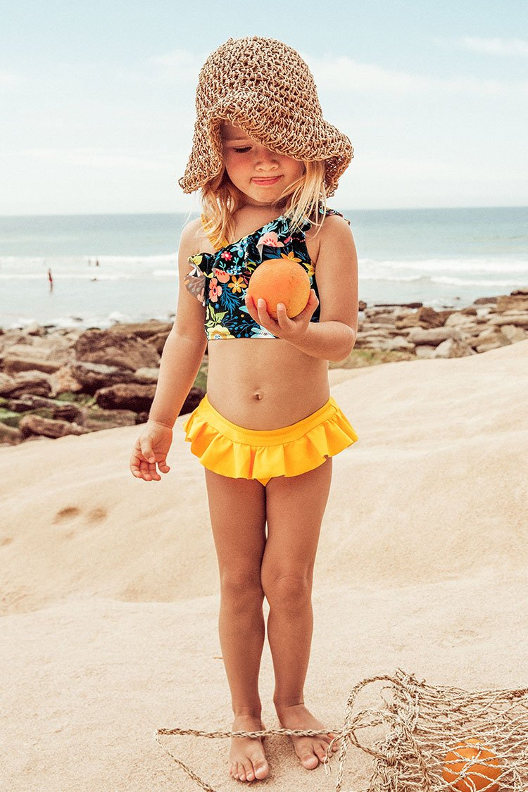 Floral Ruffles Bikini With Skirted Bottom For Toddler Girls and Girls