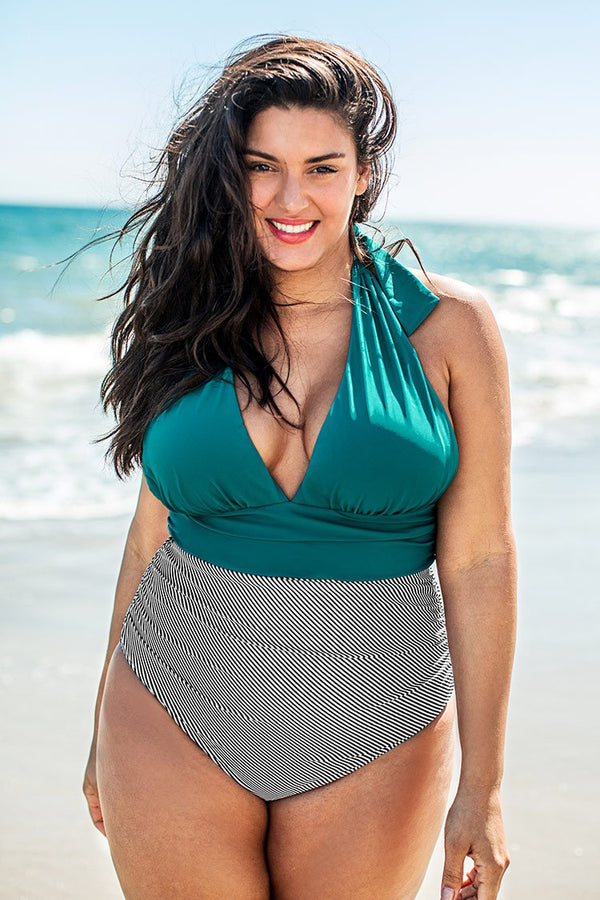 Blue and Striped V-neck Plus Size One Piece Swimsuit
