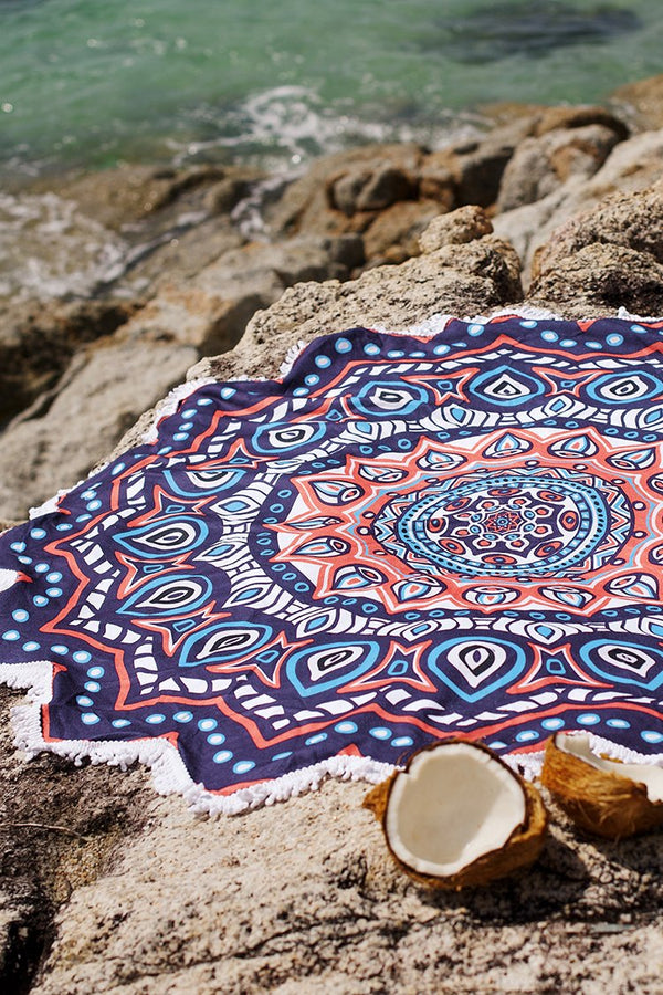 Lotus Shaped Printed Beach Towels