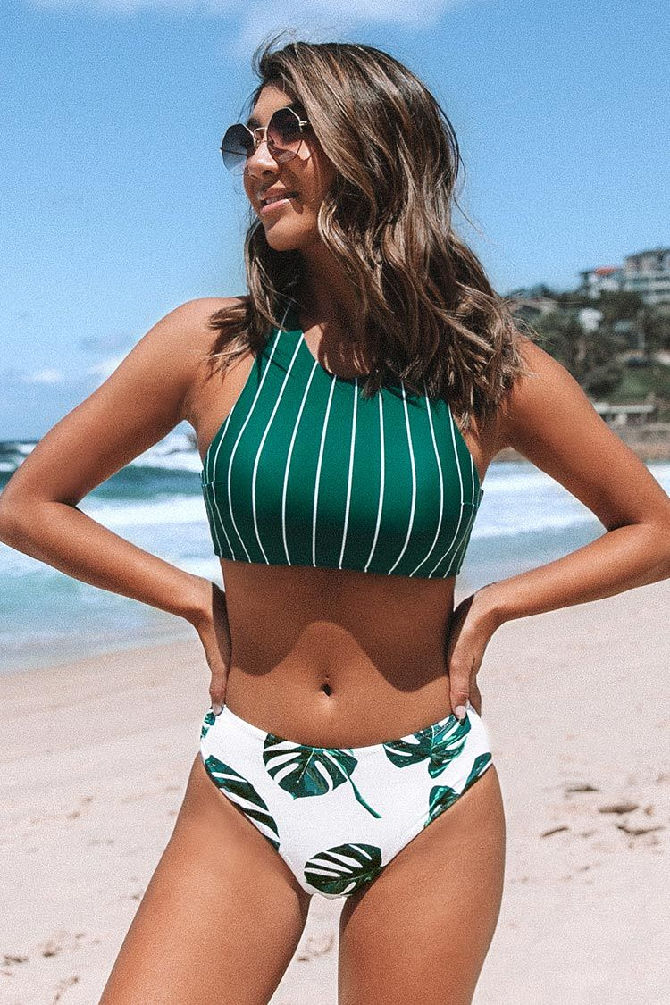 Teal Stripe and Leaves Print Bikini