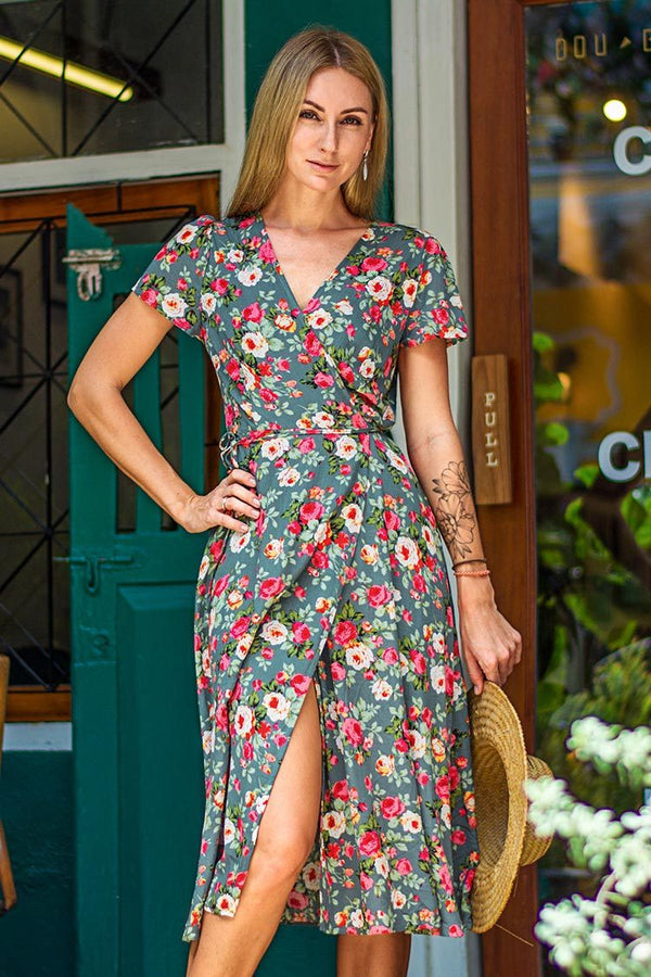 Romantic Floral Wrap Dress