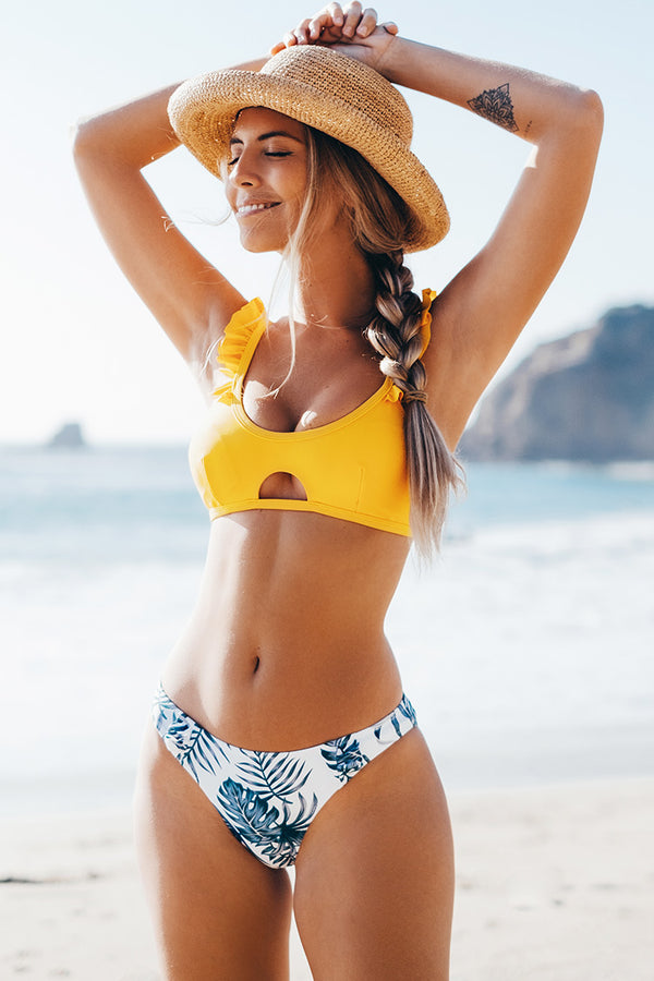 Yellow and Leafy Cutout Bikini