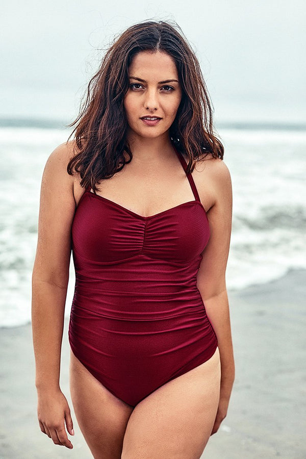 Red Halter Plus Size One Piece Swimsuit