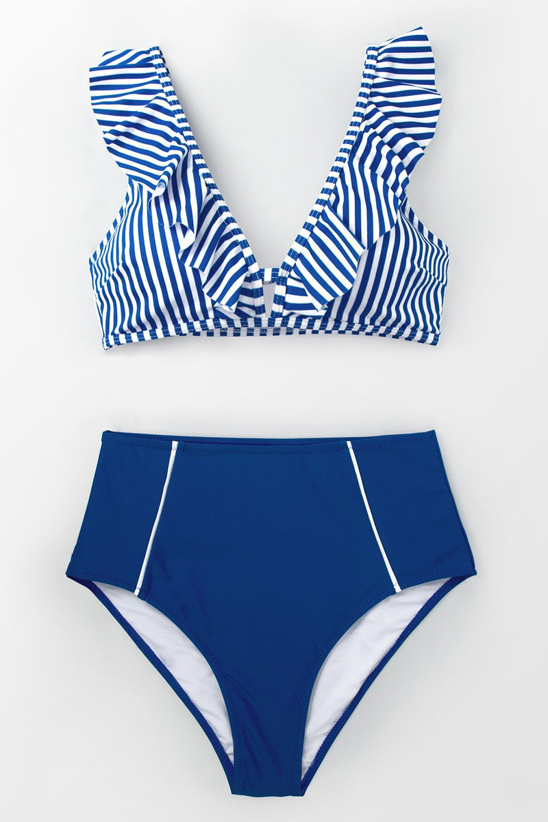 Blue Striped And High-waisted Bikini