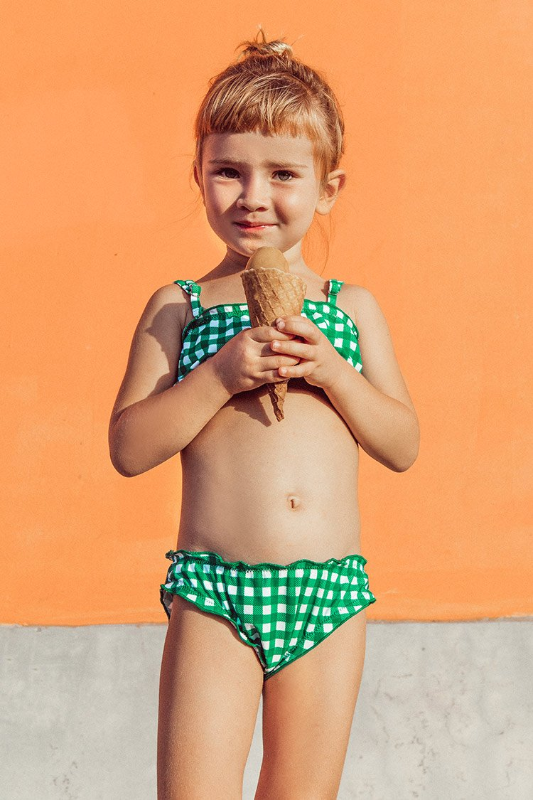 Green and White Gingham Bikini For Toddler Girls and Girls