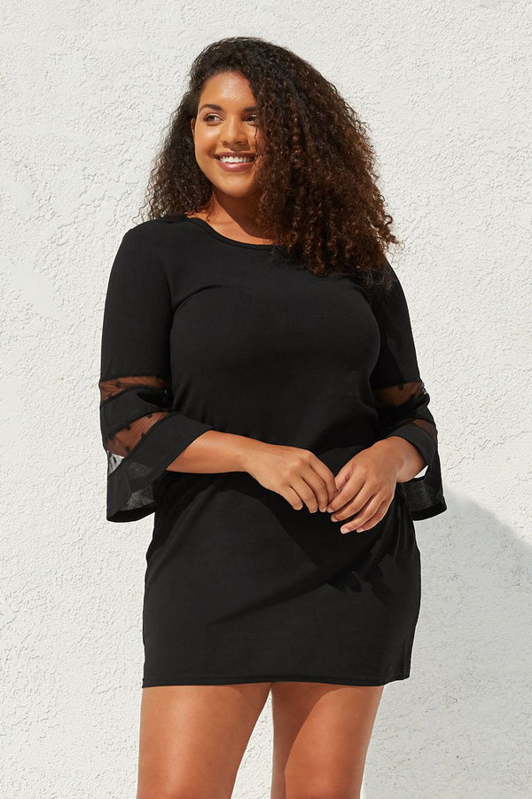 Black Plus Size Mini Dress with Mesh Sleeves