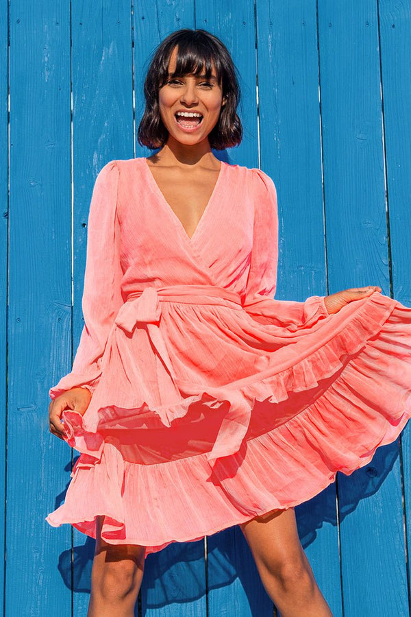 Pink Ruffles Long Sleeve Mini Dress