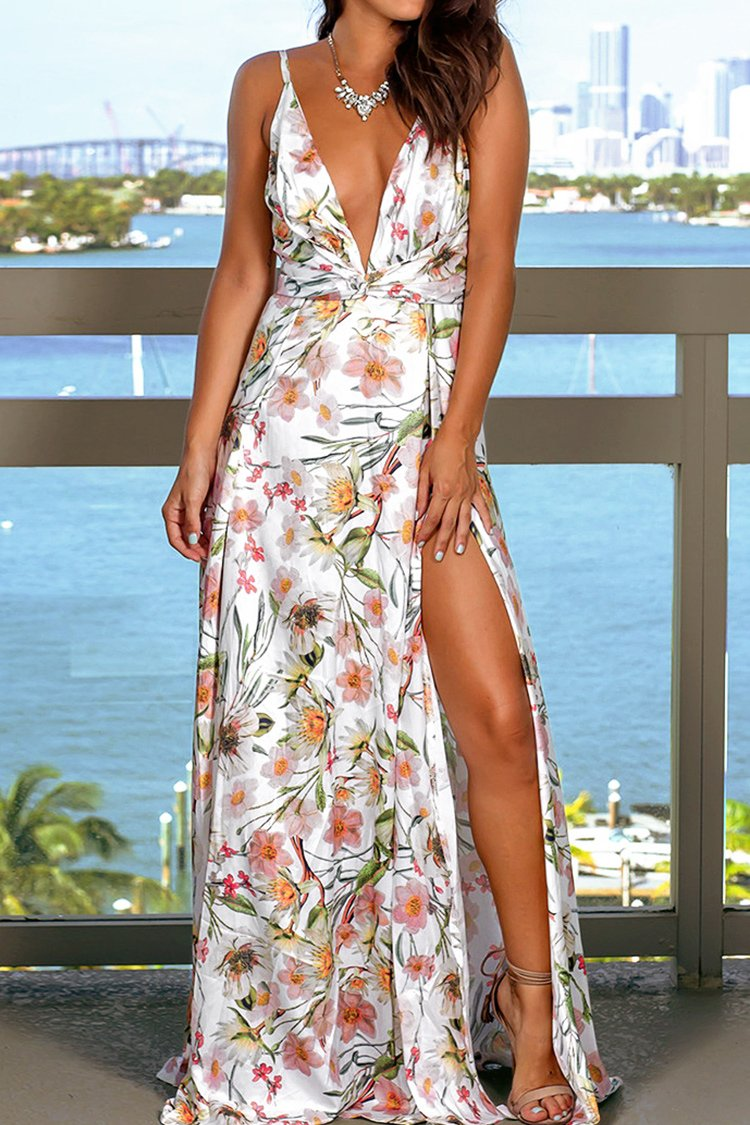 Floral Print Plunging Neckline Dress