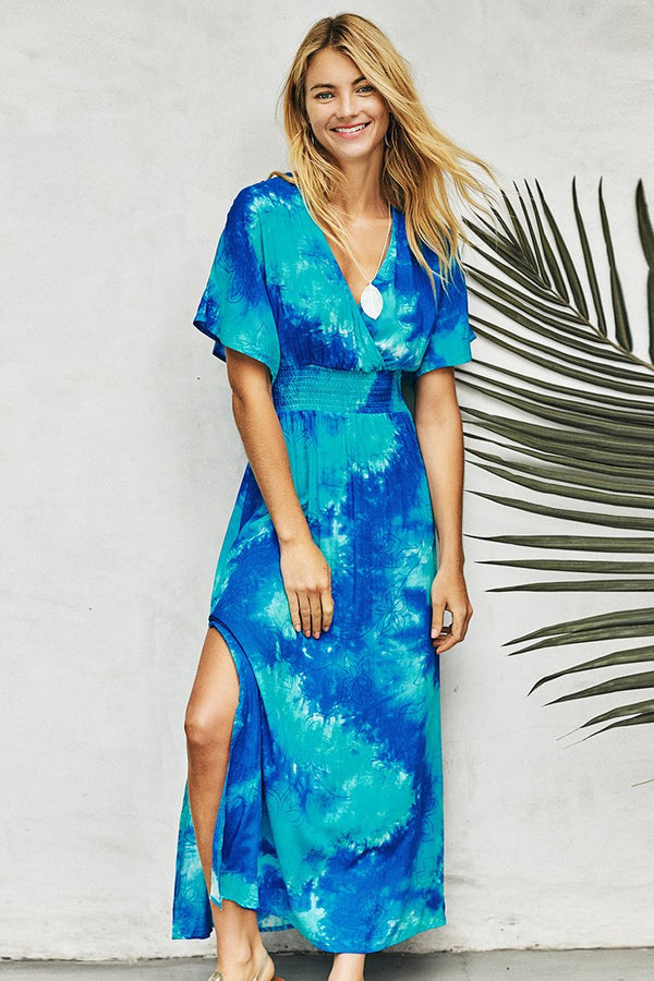 Blue Tie-Dye Side Slit Maxi Dress