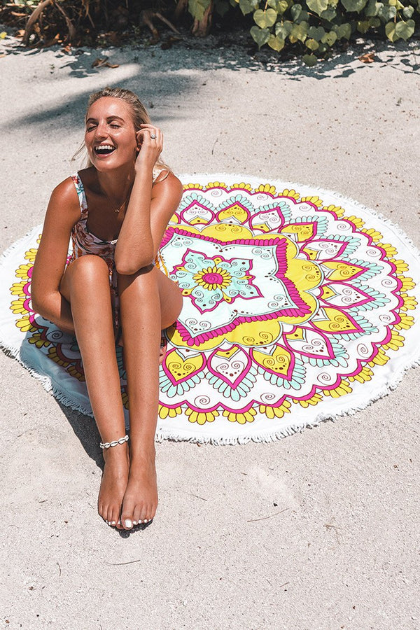 White Print Tassel Beach Towels