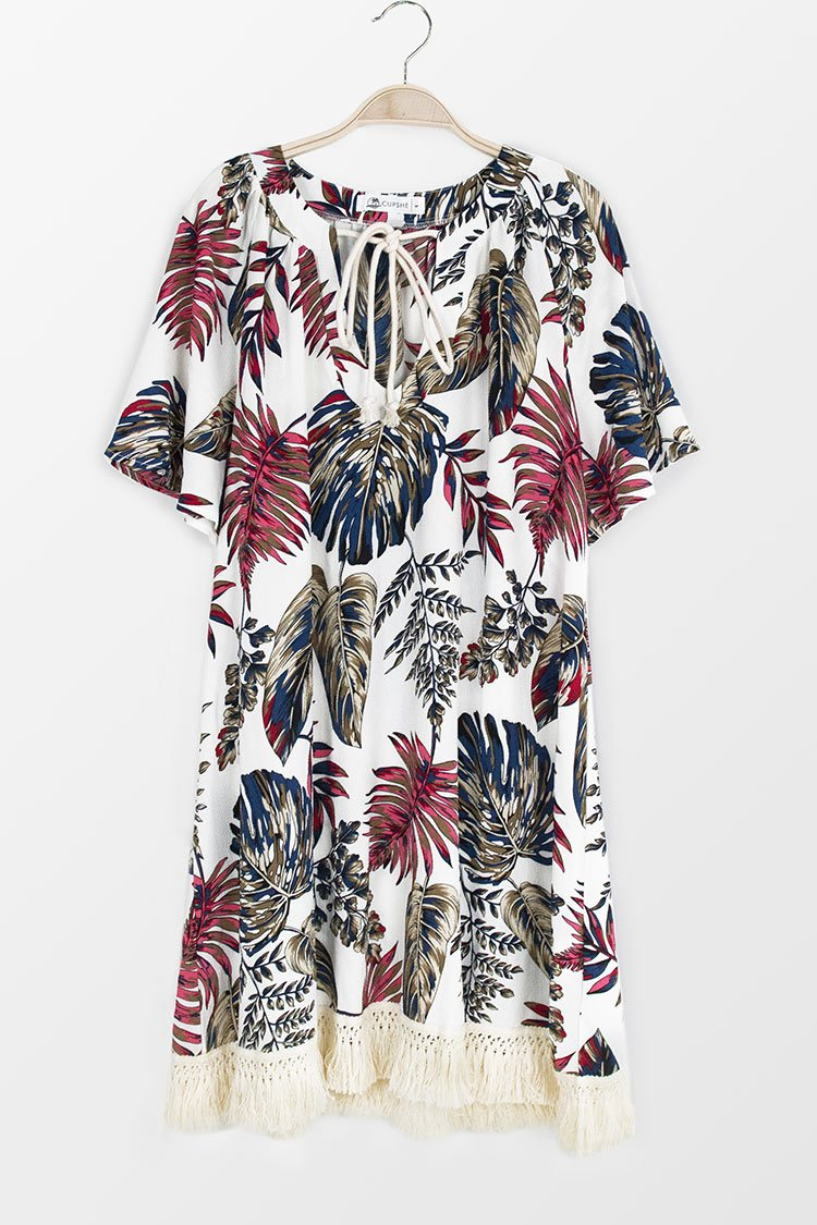 Whimsy Leafy Short Sleeve Dress