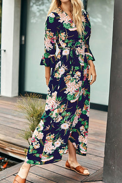 Sweet Navy Floral Print Dress