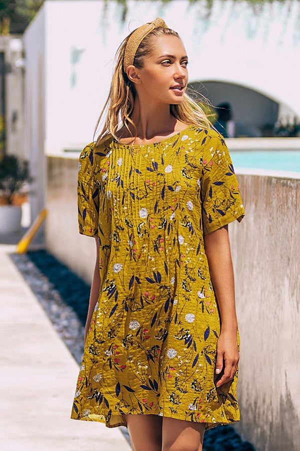 Yellow Floral Short Sleeve Dress