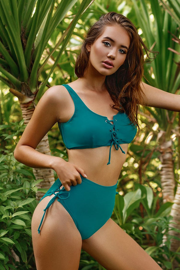 Teal Lace Up High Waisted Bikini