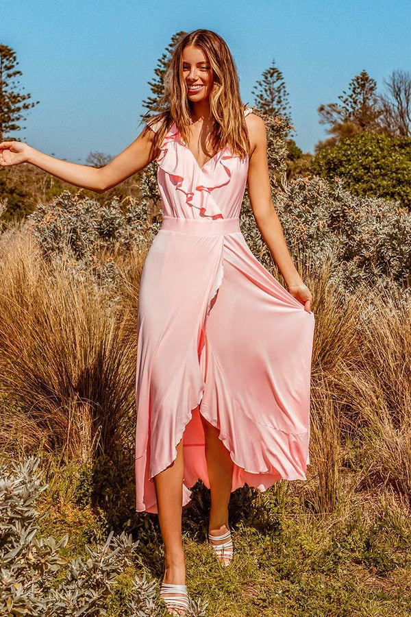 Sweet Pink Ruffled Maxi Dress