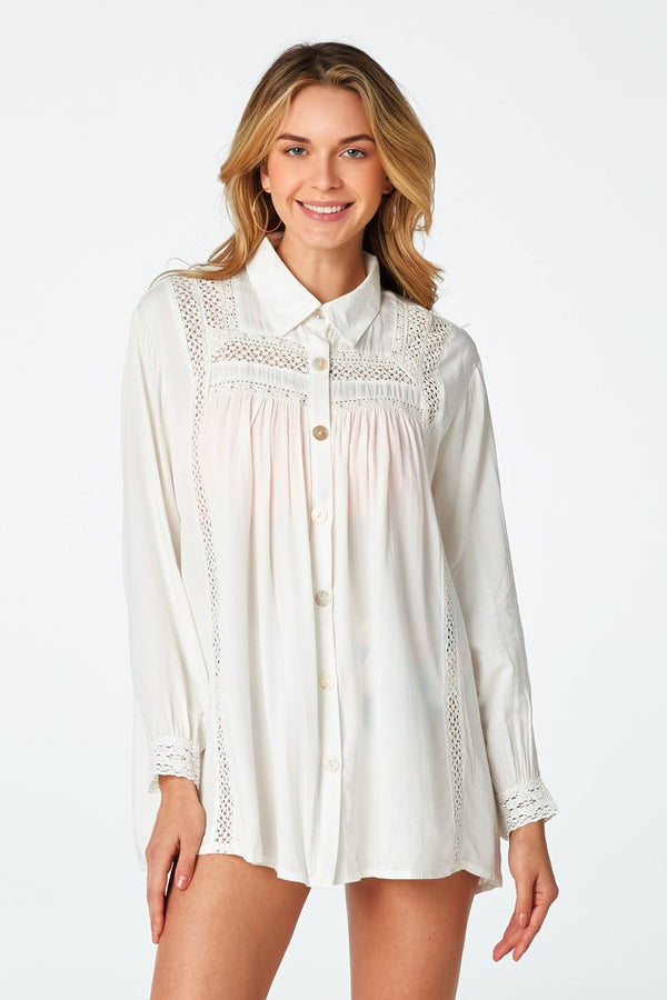 White Crochet Trimmed Blouse Cover Up