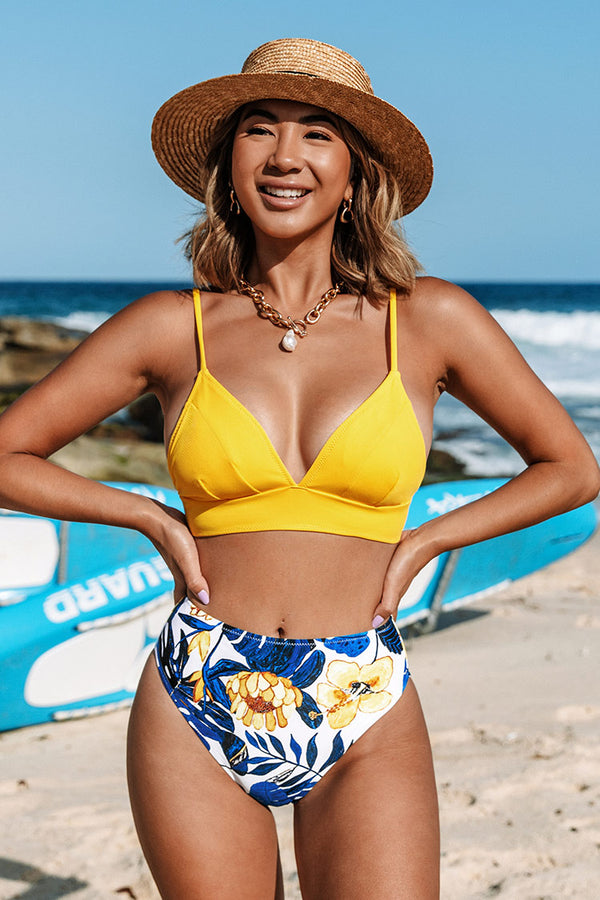 Yellow and Blue Leaves Print Bikini