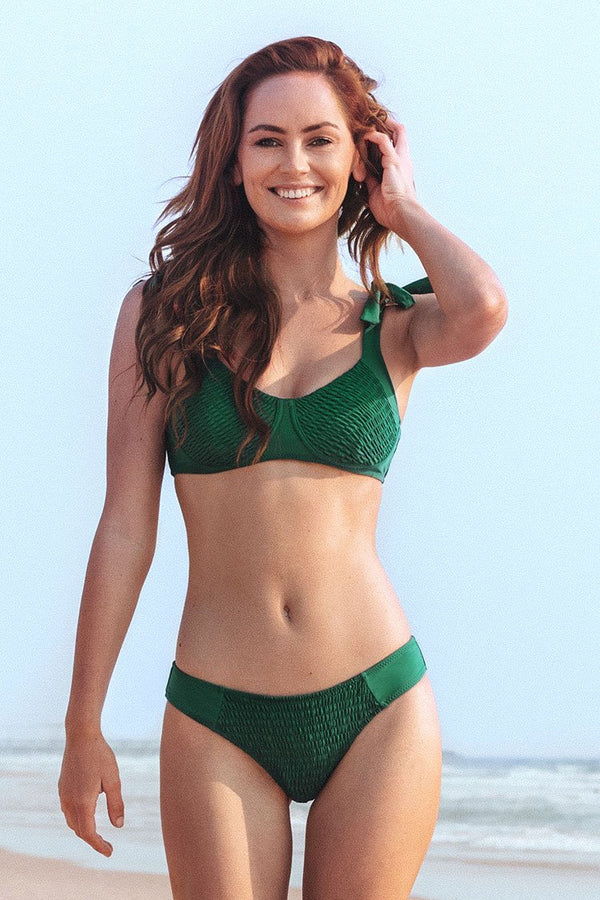 Green Smocked Underwire Bikini Set