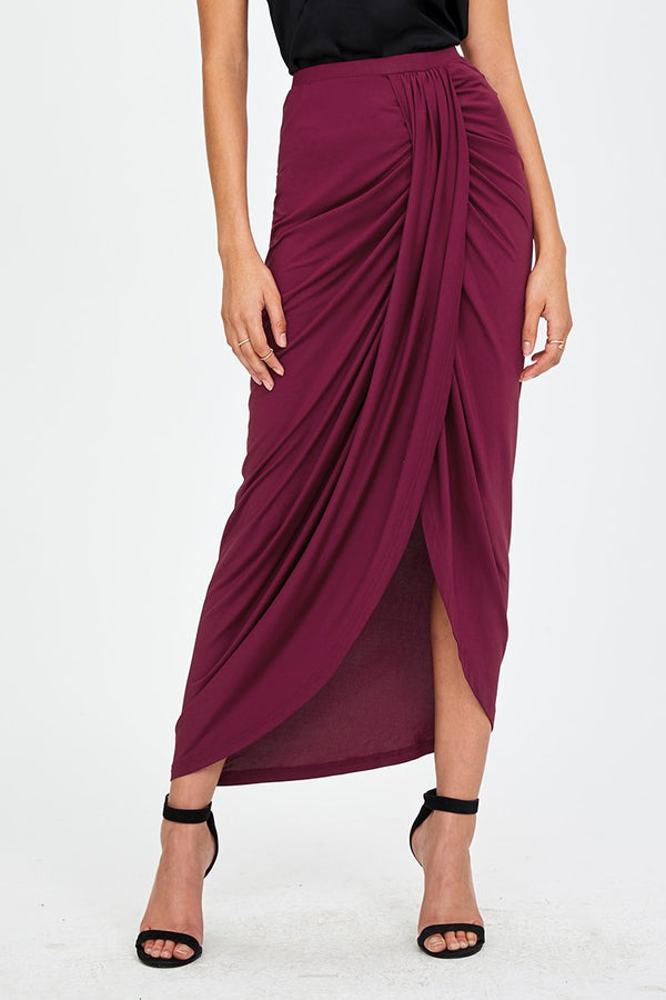 Red Ruched Maxi Skirt