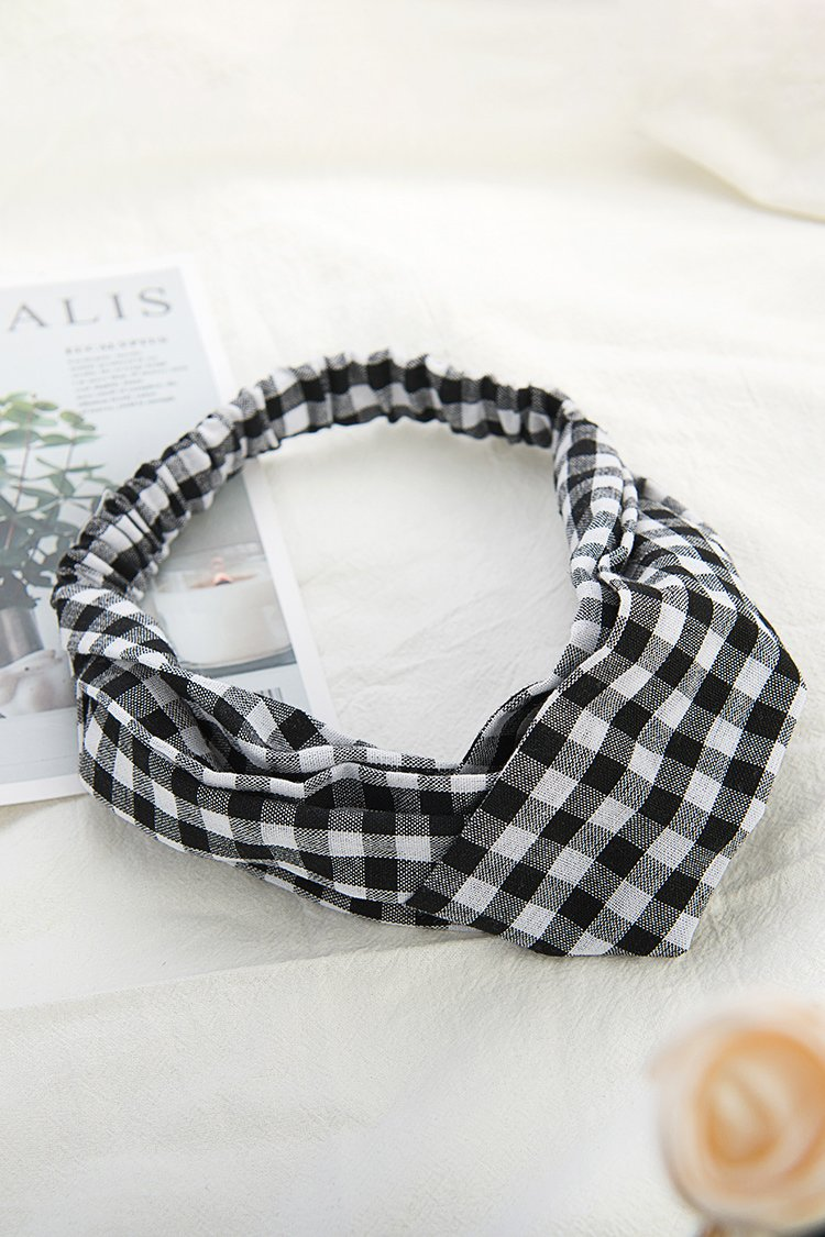 Black and White Plaid Hairbands