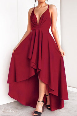 Deep Red Crisscross Back Slip Evening Dress