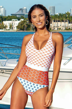 Beautiful World Print One-piece Swimsuit