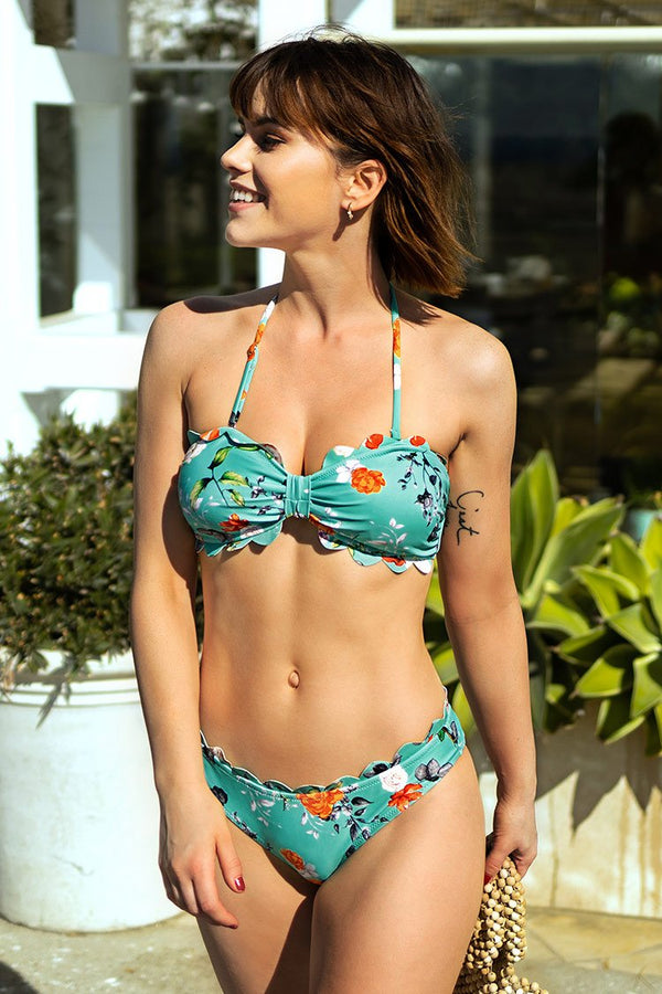 Blue Floral Scalloped Bikini Set
