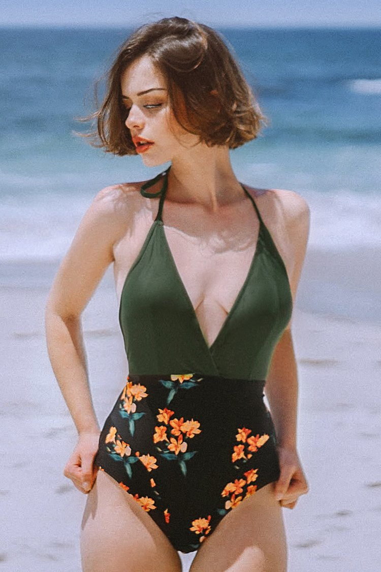 Green and Black Floral Halter One-Piece Swimsuit