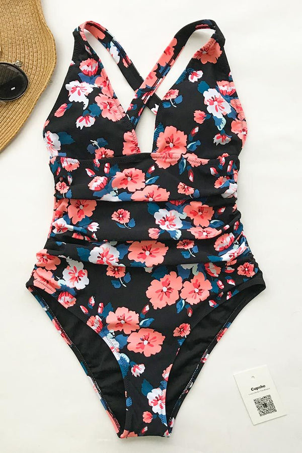Flashing Spray Print One-piece Swimsuit