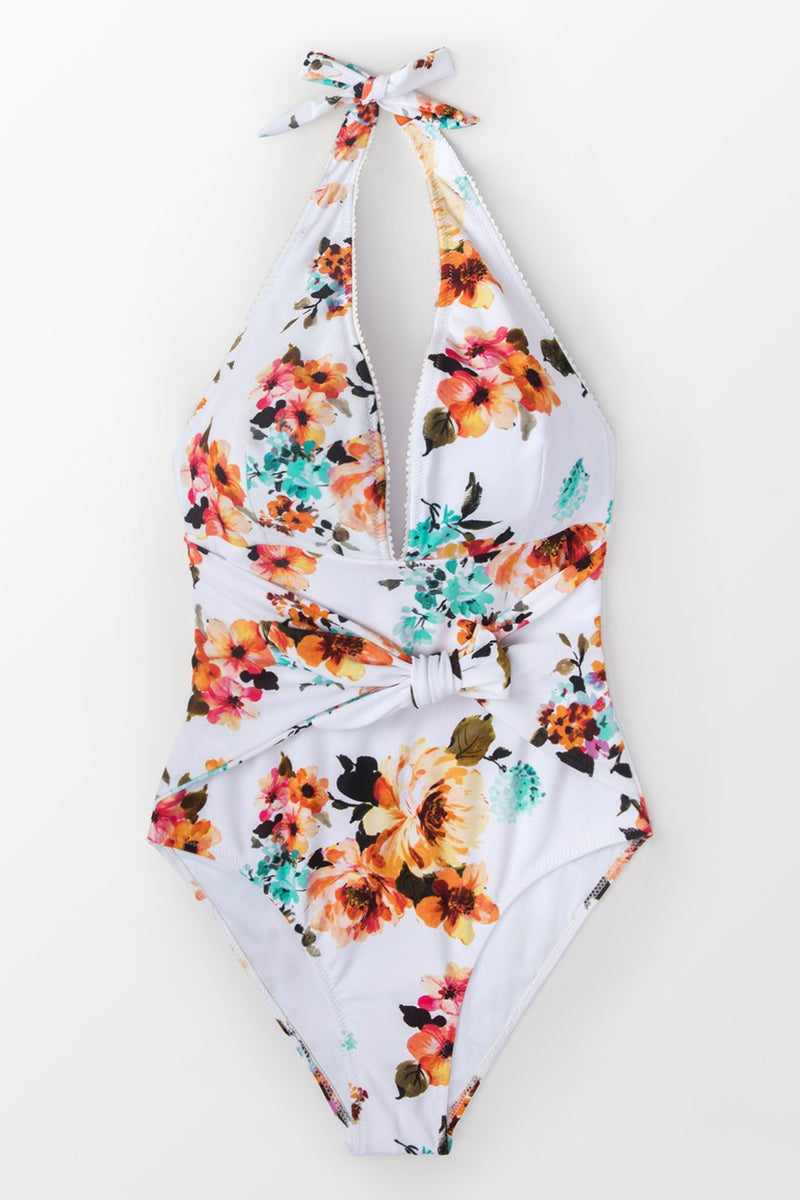 Tie Waist Floral One-piece Swimsuit