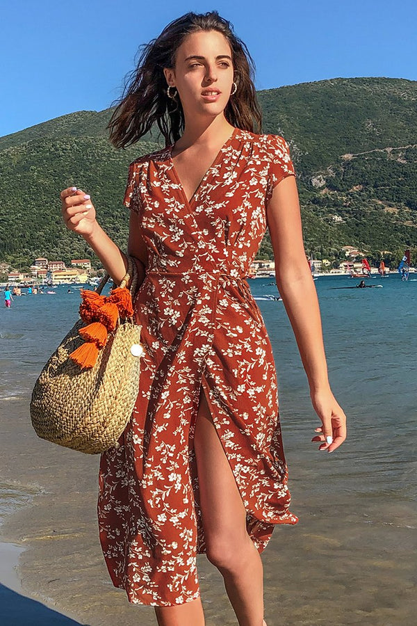 Copper Red Floral Print Wrap Dress